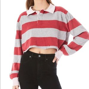 LF LOOK ALIKE Cropped maroon polo striped Rugby